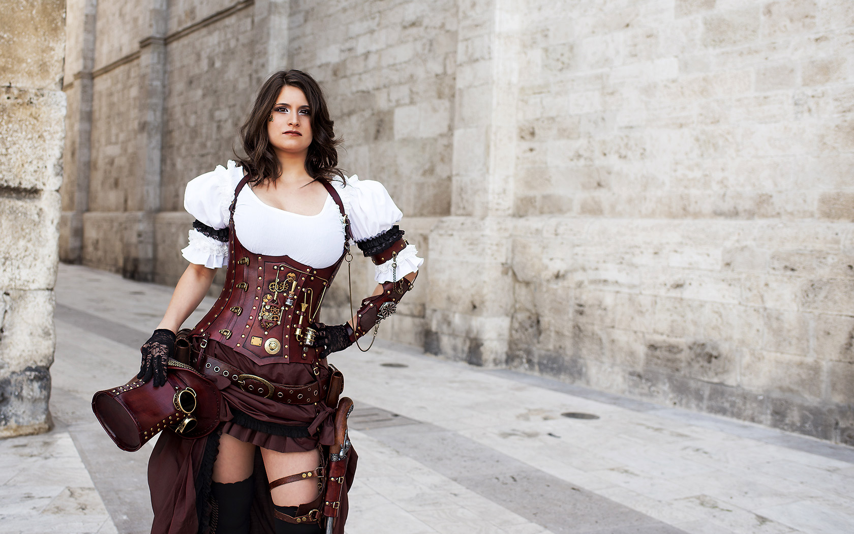 Steampunk leather costume